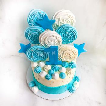 Торт №9 - Бело-голубой с цифрой