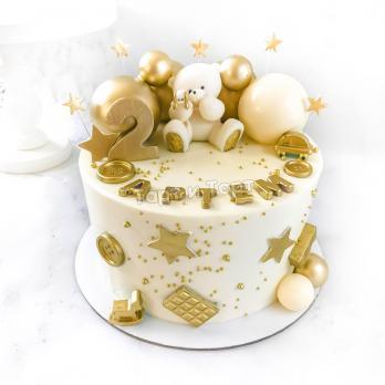 Торт №1 - Бело-золотой с фигуркой мишки