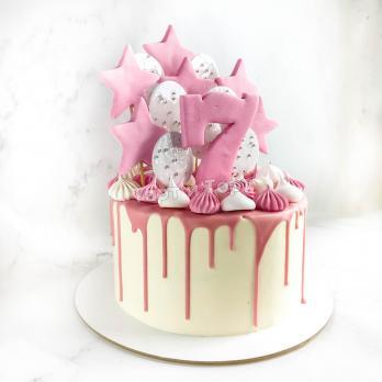 Торт №25 - Белый с розовой цифрой