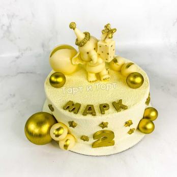 Торт №2 - Бело-золотой с фигуркой слоника