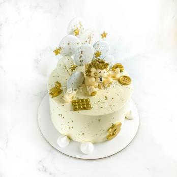 Торт №3 - Бело-золотой с фигуркой львенка