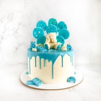 торт мальчику с фигуркой мишки