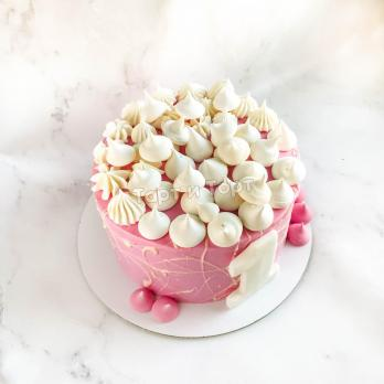 Розовый торт с большой цифрой