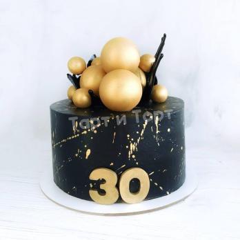 Торт 45 - Черный с золотыми шарами