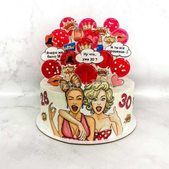 Торт 57 - Две подруги в стиле поп арт