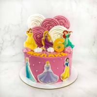 Торт №106 - Розовый с принцессами Дисней