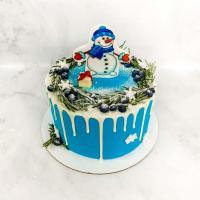 Торт №114- Новогодний с снеговиком