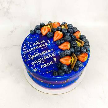 Торт №160 - С надписью, бусинками, ягодками и сладостями