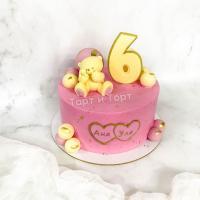 Торт №242 - Розовый с мишкой и цифрой