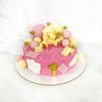 Торт №254 - Розовый с мишкой и шарами