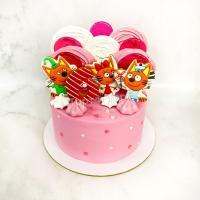 Торт №291 - Розовый с пряниками 3 кота