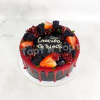 Торт №307 - Чёрный с ягодами и подтеками
