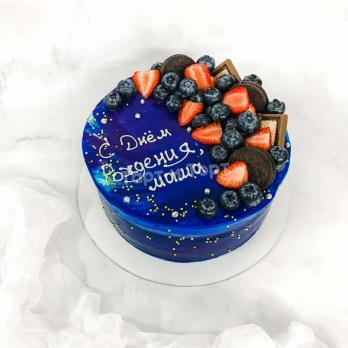 Торт №308 - Космос с надписью и ягодами