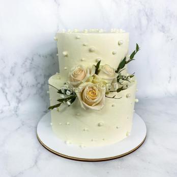 Торт 542 -  Свадебный с живыми цветами