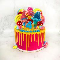 Торт №645 -  Тролли Розочка и Цветан