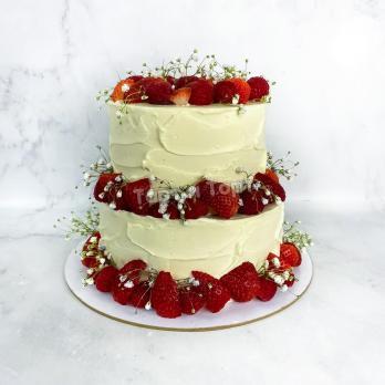 Торт 544 Нежно-белый с ягодами на заказ СПБ