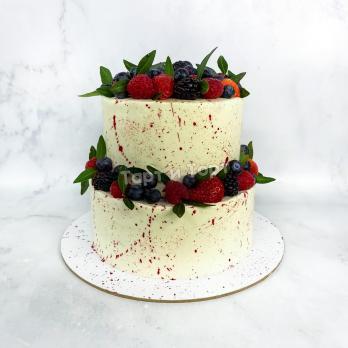 Торт 548 С ягодами и брызгами красок на заказ СПБ