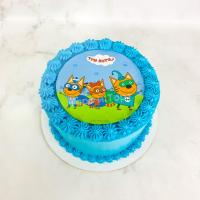 """Торт №419 -  """"Три кота"""" синий"""
