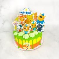 Торт №135 - Три кота разноцветный
