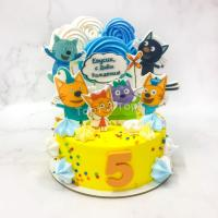 Торт №130 - Три кота конфетти желтый