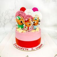 Торт №299 - Розово-красный с меренгами