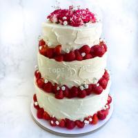 Торт №64 - Свадебный с цветами 3 яруса