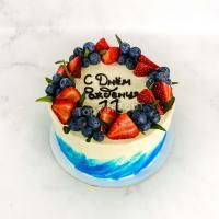 Торт №83 - Синие мазки с ягодами