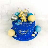 Торт №33 - Синий велюр с фигуркой слоника