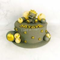 Торт №37 - Серый велюр с фигуркой львенка