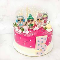 Торт №22 - Куклы лол бело-розовввый