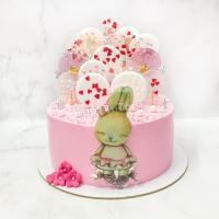 Торт №230 - Розовый с зайкой
