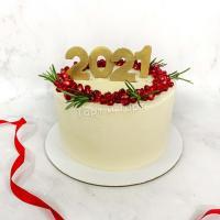 Торт №302 - Белый Новогодний с гранатом и цифрами