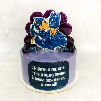 Торт №657 - Женщина кошка целует Бэтмена фиолетовый