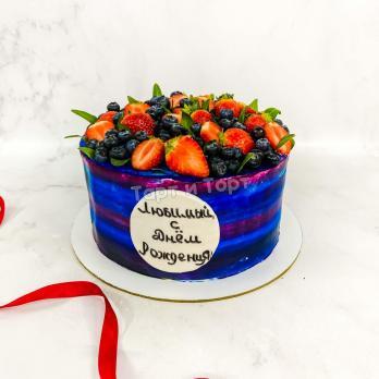 Торт №665 - Любимому с ягодами