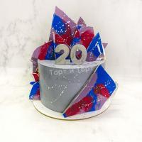 Торт №668 - серый с брызгами