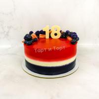 Торт №669 - 3х цветный с ягодами