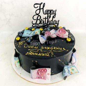 Торт №671 - С купюрами и топпером