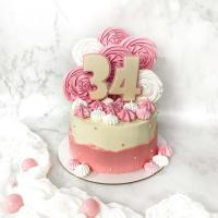 Торт №685 - Бело-розовый с большими цифрами