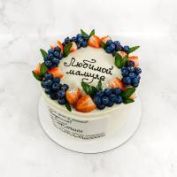 Торт №694 - С ягодами и поздравлением