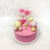 Торт №693 - Розовый с цифрой 1