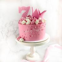 Торт №694 - Розовый с цифрой 7