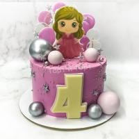 Торт №695 - Розовый с принцессой
