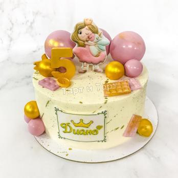 Торт №696 - Белый с принцессой и единорогом