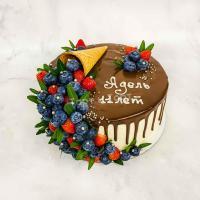 Торт №698 - Рожок с ягодами и фисташкой
