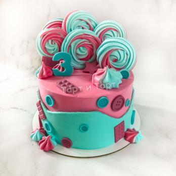 Торт №699 - Двухцветный с цифрой 3