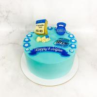 Торт №703 - Голубой на 1 год с инфо