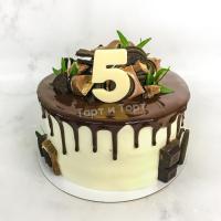 Торт №706 - белый с шоколадом и цифрой