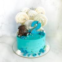 Торт №819 - Голубой с темным мишкой