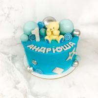 Торт №822 - Голубой с мишкой и шариками