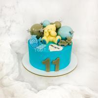 Торт №823 - Голубой с мишкой и топперами